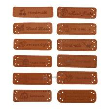 12pcs PU Leather Tags On Clothes Garment Labels For Hats Bags Shoes Decor Sewing