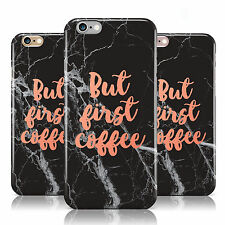 BUT FIRST COFFEE BLACK MARBLE EFFECT CASE COVER FOR APPLE IPHONE MOBILE PHONES