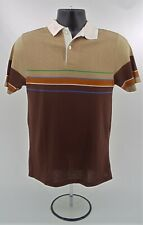 Euc! Vintage Sundek 80's Brown Green Blue Orange Stripe Polo Shirt Surf M Medium