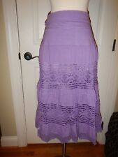 NEW Simply Noelle S M 8 10 Purple Lace Lined Fold-Over Waist Peasant Skirt NWT