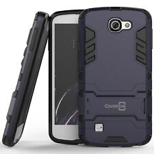 For LG Optimus Zone 3 / Rebel Hard Case Navy & Black Kickstand Protective Cover