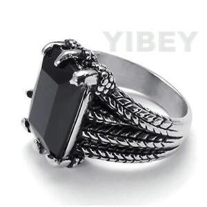 Stainless Steel Cast Vintage Black CZ Stone Men's Dragon Claw Ring Biker Gothic