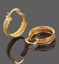 24K YELLOW GOLD FILLED 24MM LADIES  HOOP EARRINGS BRIDESMAID JEWELLERY GIFT E11