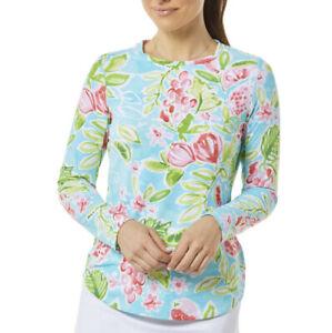 IBKUL Sweat LESS Crew Neck Long Sleeve Top UPF 50 Tutti Seafoam Floral Print XXL
