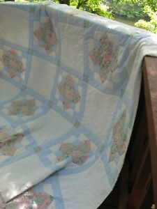 Vintage Patchwork Aunt Sukey Choice Quilt, Full Size, Blue, Pink, White