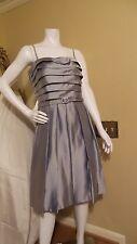 *NEW* ELIZA J SATIN FIT & FLARE GRAY SILVER BELT WAIST CORSET DRESS Sz 12 Rt$298