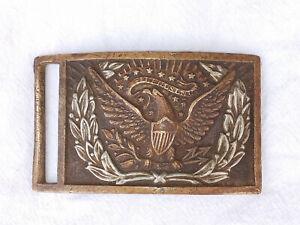 Original Civil War Eagle Sword Belt Plate Buckle Silver Wreath