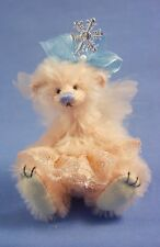"""Deb Canham """" Christmas Angel"""" Pink Mohair Miniature Bear 3 3/4"""" Feather Wings"""