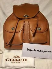 Coach Women's Leather Turnlock Tie Rucksack/Backpack Brown (Includes Dustbag)
