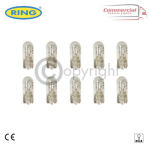 10 X RING R501 W5W CAR SIDELIGHT SIDE LIGHT BULB 501 12V 5W PUSH FIT - E MARKED