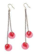 Sleek-red Sequenced & Dual Bronze Chain Metal Hook Earrings(A5/zx208)