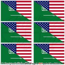 USA United States America-SAUDI ARABIA American-S.Arabian Flag 40mm Stickers x6