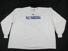 adidas Kansas Jayhawks - Men's White Cotton Long Sleeve Shirt (5XL) - Used