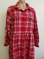 Anthony Richards Red Plaid Flannel Button Up Winter Dress Size XL Long Sleeve
