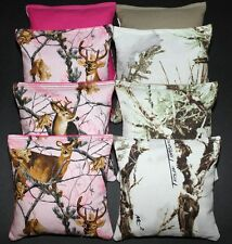 CORNHOLE BEAN BAGS True Timber White & Pink REAL TREE Camo Camouflage Hunting