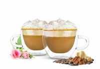 4 Doppelwandige Cappuccino Tassen mit Henkel Löffel 290ml Kaffeegläser Teegläser