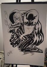 Marvel Comics BLACK CAT & VENOM by Jardel Cruz Original Art, 11x17 Spider-Man
