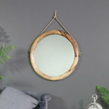 Rustic round wooden wall mirror rope hanger bathroom living room hall display