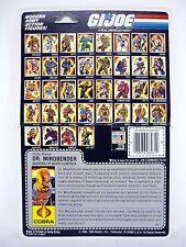 GI JOE DR MINDBENDER FILE CARD Vintage Figure FULL / UNCUT / GOOD SHAPE 1986