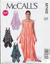 MCCALL'S SEWING PATTERN 7402 MISSES 16-26 TENT DRESSES & JUMPSUIT IN PLUS SIZES