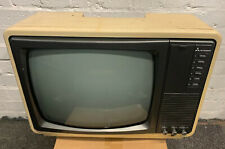 Retro Small Mitsubishi Black & White TV Set In Retro Cream And In Working Order