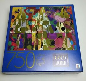"""Gold/Dore' Watercolor Abstract 750 Piece Jigsaw Puzzle 27""""  - Milton Bradley"""