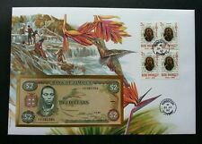 Jamaica Birds 1996 Flower Flora Fauna Waterfall FDC (banknote cover) *Rare