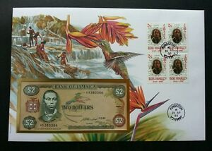 Jamaica Birds 1996 Flower Flora Fauna Waterfall FDC (banknote cover) *Rare