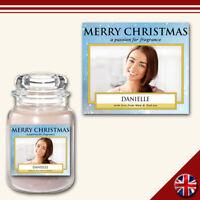 C7 Personalised Medium Custom Photo Candle Label Sticker Christmas Holiday Gift