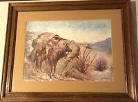 Framed Frederick Remington Western Print