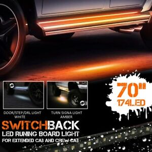 "48-70"" Pair of Amber Side Marker & White Courtesy Running Board LED Lights"