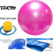 75cm ANTI BURST YOGA EXERCISE GYM PREGNANCY SWISS FITNESS ABS BALL + PUMP PINK