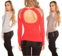Maglia donna maglioncino schiena scoperta pullover con strass NUOVO