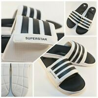 New Adidas Superstar Slides Men's Size 18 Black White Cloudfoam Shoes Adjustable