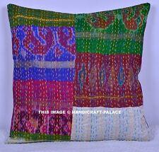 "Vintage Kantha Patchwork Cushion Cover Indian Silk Sofa Pillow 16"" Decorative"