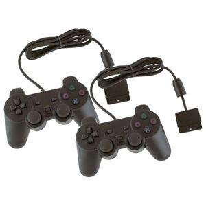 2x Manettes Filaires Générique Noir pour Sony PlayStation 2 PS2 PS1 Analogique