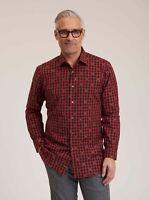 Robert Graham Rooster L/S Checkered Print Sport Shirt, Red