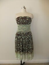 GEORGE LADIES SIZE 12 STRAPLESS DESIGNER DRESS BROWN GREEN BLUE CIRCLES STUNNING