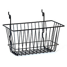 "Case of 5 New Black Basket fits Slatwall,Grid,Pegboard 12""w x 6""d x 6""h"
