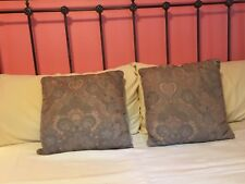 "Lot Of 2 Decorative Throw Pillows Grey Rose & Beige 16""x16"""