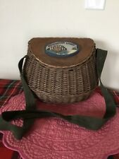 New listing Vintage Wicker Fly Fishing Basket with Canvas strap, hinges Edgewater Lodge Nice