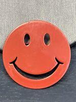 "Vintage Pin Brooch Estate Read Enameled Happy Face  Pin Brooch  1.5"""