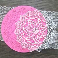 Round Shape Silicone Sugar Craft Fondant Mold Mould Lace Gumpaste Mat Cake Decor