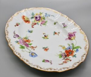 Richard Klemm Dresden Hand Painted Floral & Gold Tray Platter 1891 - 1914