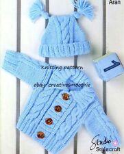(290) 0-4yrs, Baby Toddler Cable Cardigan Hat Aran Knitting Pattern, 16-24''