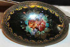 Lovely VTG Russian Hand Painted Framed Floral LACQUER WOOD BROOCH PIN  Signed