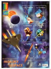 FROM SKY TO SPACE: Concorde & Satellite Spacecraft Stamp Sheet (2000 Gambia)