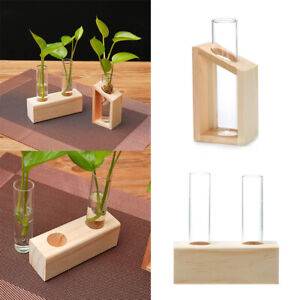 Test Tube Flower Vase Hydroponic Plant Terrarium With Wood Stand Home Decor Chic