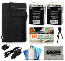 Camera Batteries for Nikon D , Charger Included