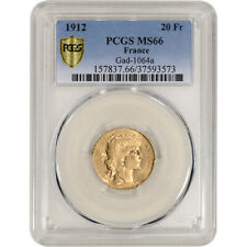 1912 France Gold 20 Francs - PCGS MS66  Gad-1064a